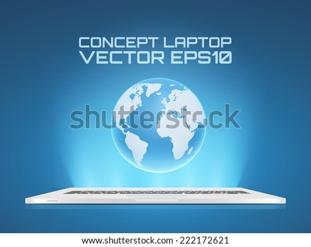 Vector world map hologram and concept laptop. - stock vector