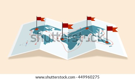 Vector world map icon with red flags - stock vector