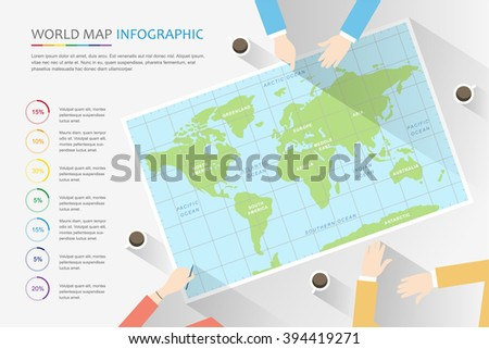 Vector world map illustration and infographics design template. Business Travel Meeting Discussion Team Concept. Travel plan, schedule on the desk. - stock vector