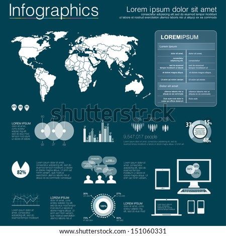 Vector world map illustration and infographics design template. flat modern style. Easy to edit country. White infographics - stock vector
