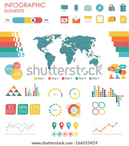 Vector world map illustration and infographics design template. flat modern style. Easy to edit country.