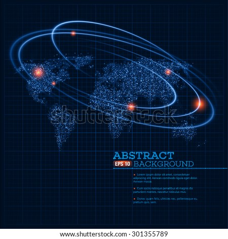 Vector world map illustration with glowing points and lines. EPS 10 - stock vector