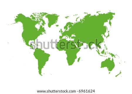 Vector world map isolated over a white background - stock vector