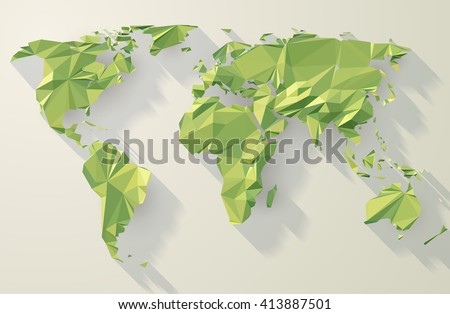 Vector world map. Low poly design. Green origami planet illustration. - stock vector
