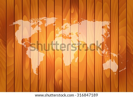 Vector world map on wooden wall background - stock vector
