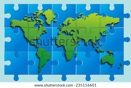 Vector world map puzzle - stock vector