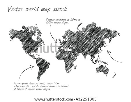 Vector world map sketch on white background. - stock vector