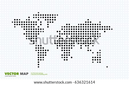 Vector world map template round spots vectores en stock 636321614 vector world map template with round spots dots for business graphic design abstract art gumiabroncs Gallery