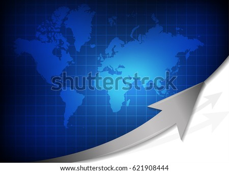 Vector world map arrow on blue stock vector 621908444 shutterstock vector world map with arrow on blue grid background gumiabroncs Image collections