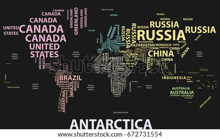 Vector World Map Country Names Typography Stock Vector 672731554