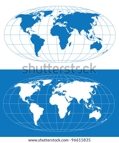 Vector world map with grid. Separate layers - stock vector