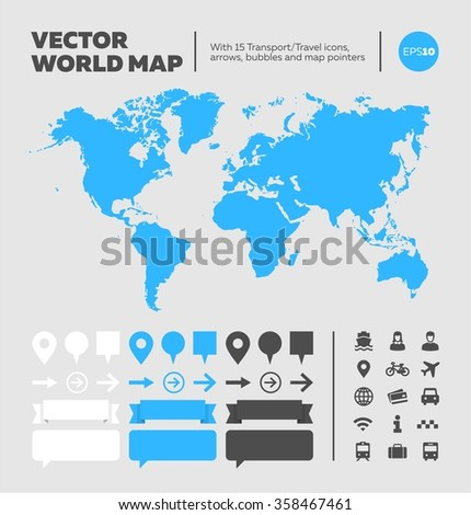 Vector world map with infographic elements and icons. Extra elements: bubbles, banners, round and square pins/pointers. Extra icons: ship, woman, man, user, taxi, car, train, bus, plane, internet - stock vector