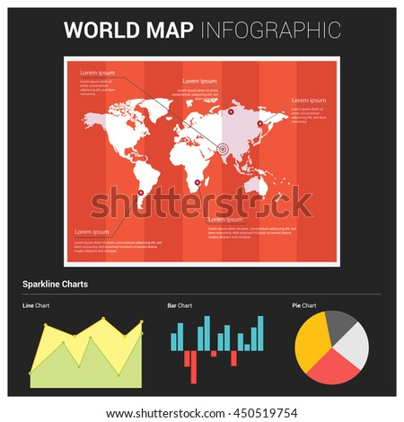 Vector world map infographic elements pie stock vector 450519754 vector world map with infographic elements pie chart floral chart and different presentation design elements gumiabroncs Gallery
