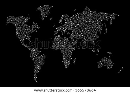 Vector world map nodes linked by stock vector hd royalty free vector world map with nodes linked by lines black background gumiabroncs Choice Image