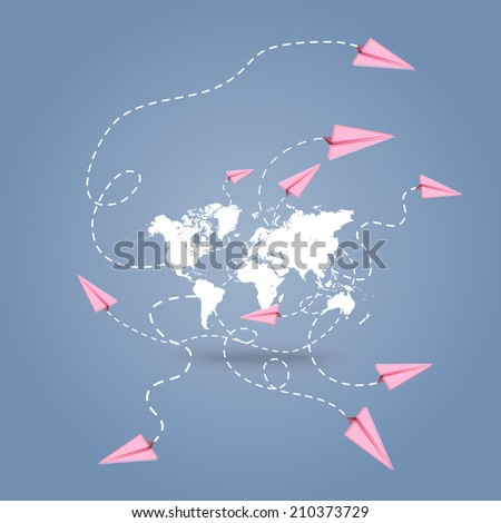 Vector world map with paper planes - background with space for text  - stock vector