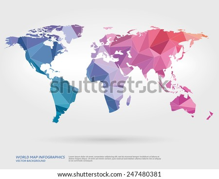 Vector world map with polygons in background. - stock vector