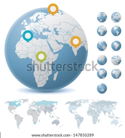 Vector World maps and Earth globes showing Europe, North and South Americas, Africa, and Asia - stock vector