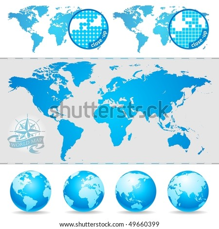 Vector World maps and globe - stock vector