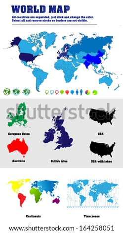 Vector world maps with map of the world with all countries borders, map of Australia, British isles, USA. Additional maps with separated continents and time zones and icons and pins for information.
