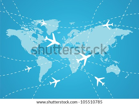 vector world travel map with airplanes - stock vector