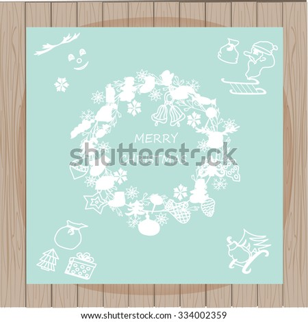Vector  wreath, Christmas greeting card template, Merry Christmas. Winter holiday design, frame wreath design made of childish doodles. EPS 10  - stock vector