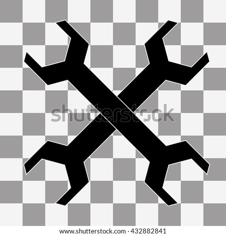 Vector Wrench icon on transparency - stock vector