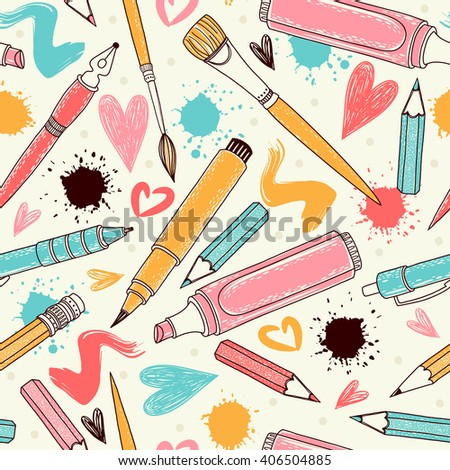 Vector writing and painting tools. Seamless pattern. Freehand drawing - stock vector