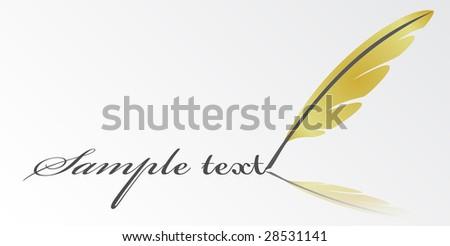 vector writing feather - stock vector