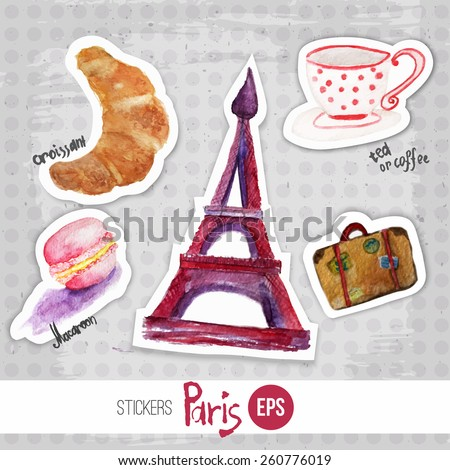 Vector wtercolor set of stickers romantic morning in paris with eiffel tower, macaroon, cup of tea and croissant. Artistic vector design for banners, greeting cards,sales, posters. - stock vector