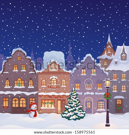 Vector xmas card with a decorated snowy old town at Christmas eve - stock vector