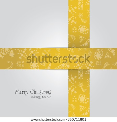 vector xmas element in gold color for place to text / christmas ribbon in background concept - stock vector