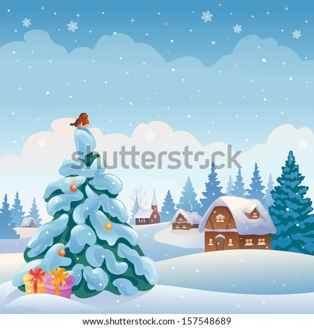 Vector Xmas greeting card with a beautiful village in the woods - stock vector