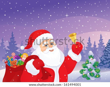 Vector xmas illustration of cheerful Santa Claus ringing the bell at a snowy forest - stock vector