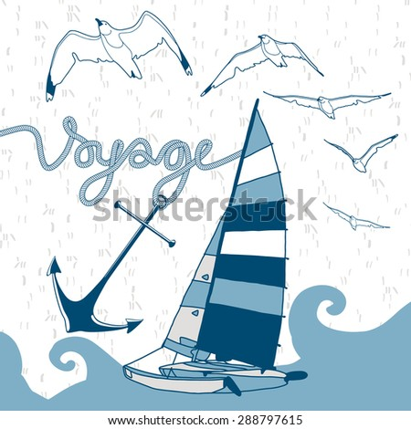 Vector yacht illustration with voyage, anchor, wave and birds - stock vector