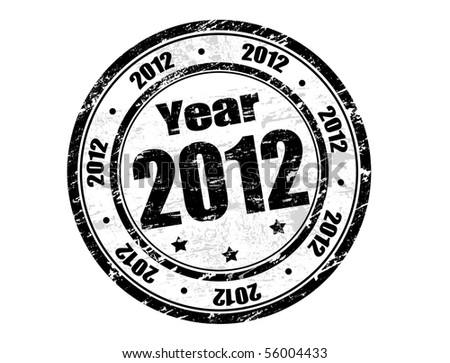 Vector 2012 year stamp with black ink