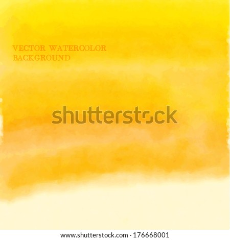 Vector yellow abstract watercolor background - stock vector