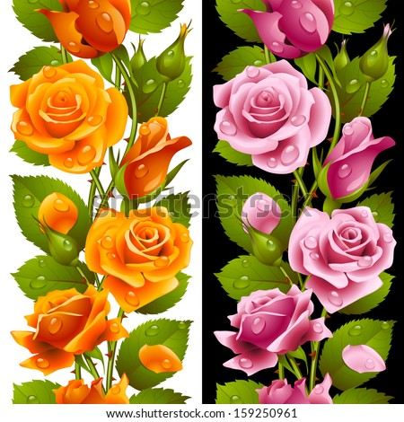 Vector yellow and pink rose vertical seamless pattern isolated on background
