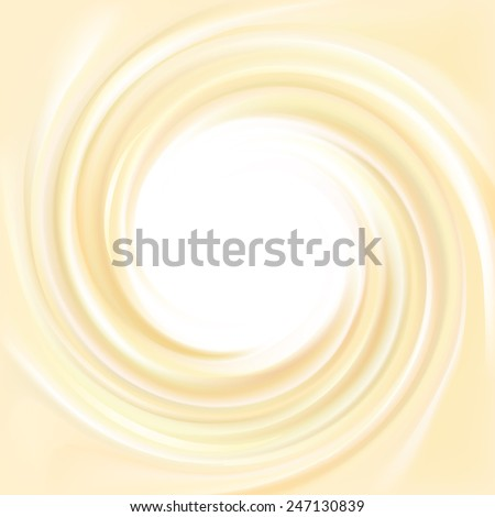Vector yellow backdrop of swirling creamy texture with with space for text in glowing white center in middle of funnel  - stock vector