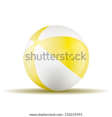 Vector yellow beach ball isolated on a white background. Fitness symbol - stock vector