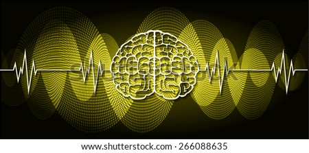 vector yellow brain processes technology, creative idea concept. wave - stock vector