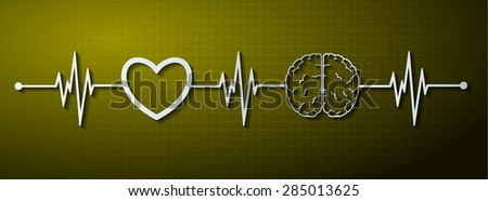 vector yellow brain processes technology, creative idea concept. wave. ECG, EKG, electrocardiogram. pulse heart - stock vector