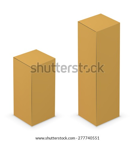 Vector yellow cardboard tall box design template. Illustration on white background - stock vector