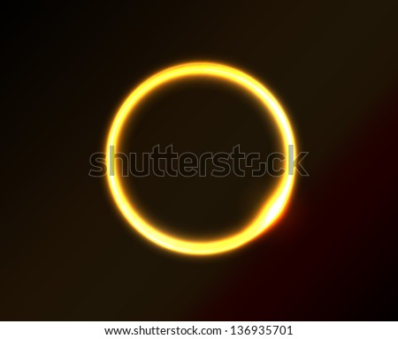 Vector yellow circle looks like ring of fire or sun in space. Dark background. - stock vector