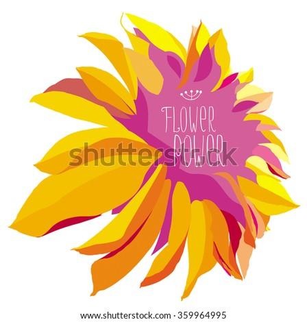 Vector yellow dahlia flower on white background - stock vector