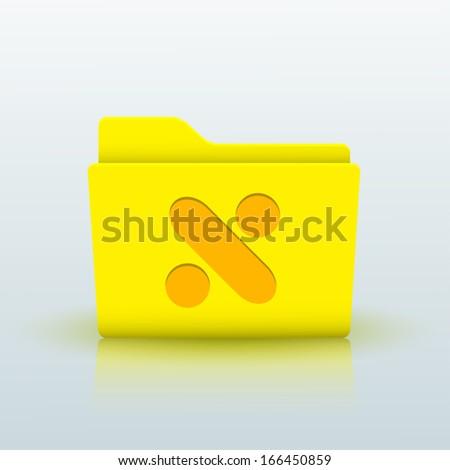 Vector yellow folder on blue background. Eps10 - stock vector