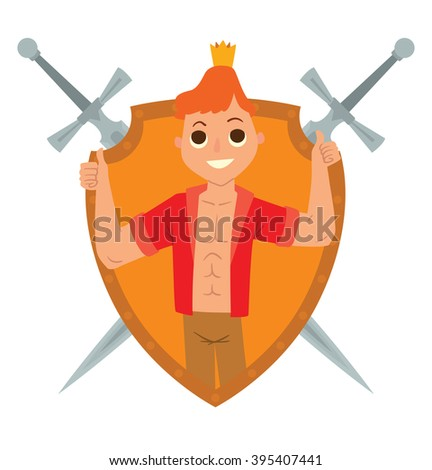 Vector yellow frame as shield with crossed swords. Cartoon image of a modern prince. Man with ginger hair. Man in red unbuttoned shirt and gold crown. Frame with cartoon prince on a white background. - stock vector