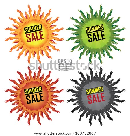 Vector : Yellow, Green, Red or Black Summer Sale Icon, Sticker or Label For Seasonal or Special Promotion Isolated on White Background - stock vector