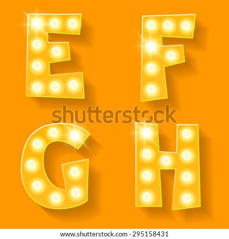 Vector yellow lamp alphabet for theatre, cinema and other entertainment. Letters E F G H - stock vector