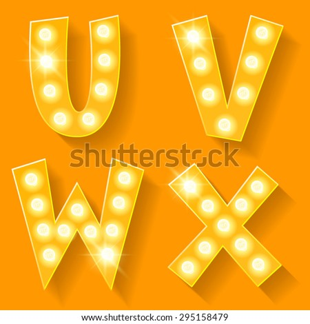 Vector yellow lamp alphabet for theatre, cinema and other entertainment. Letters U V W X - stock vector