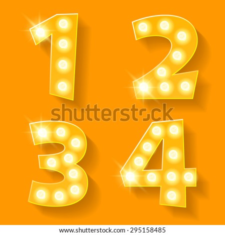 Vector yellow lamp alphabet for theatre, cinema and other entertainment. Numbers 1 2 3 4 - stock vector